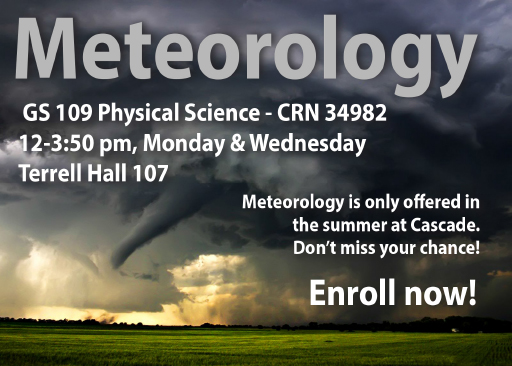meteorology class advert with hurricane background